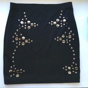 Nasty Gal Silver Bling Knit Black Mini Skirt